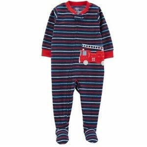 Carter's Fire Truck Striped Footed Pajamas Boys 2T